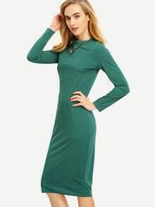 Green Long Sleeve Pencil Dress