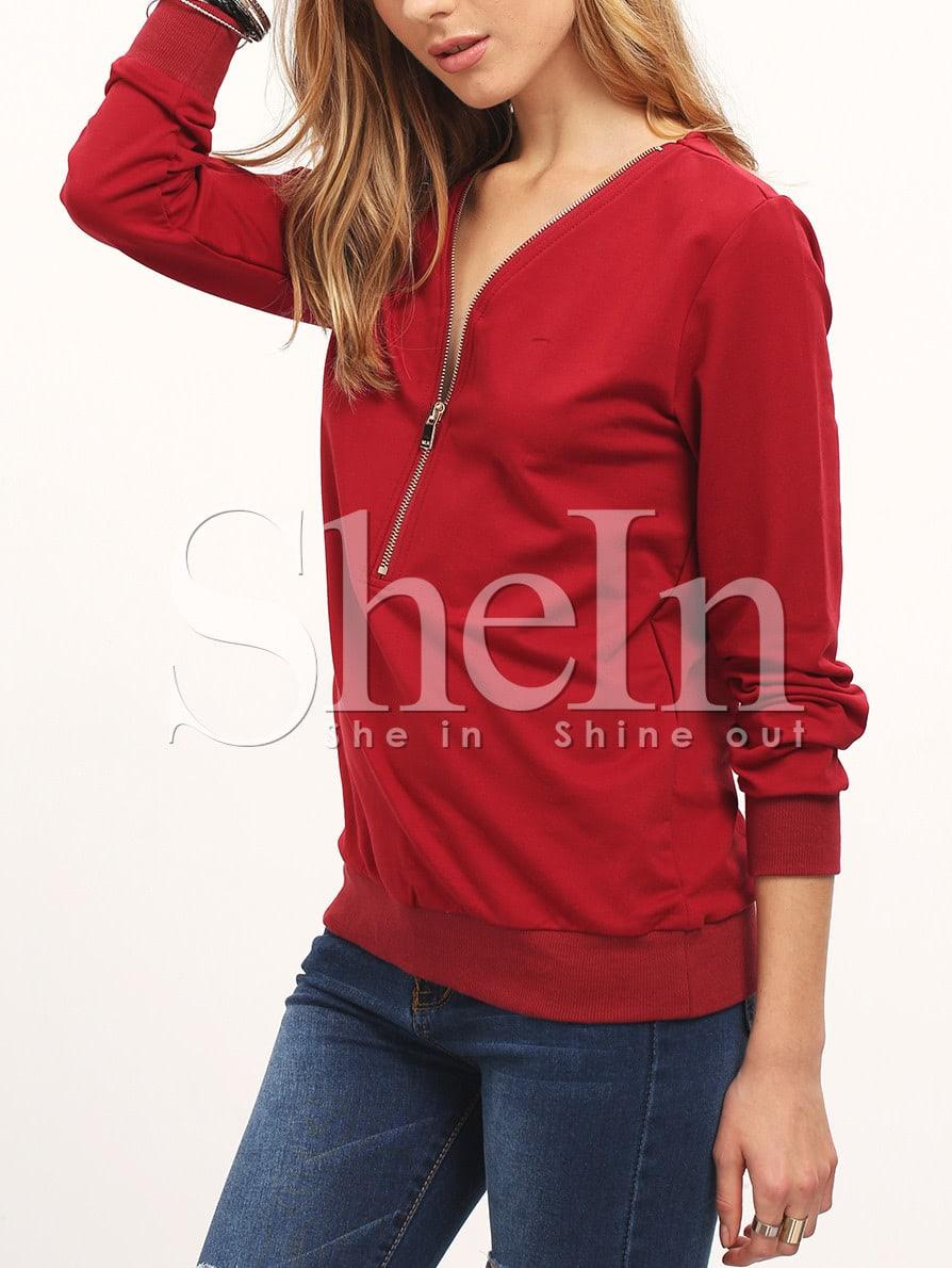 Burgundy Zipper V Neck T-Shirt tee160104716
