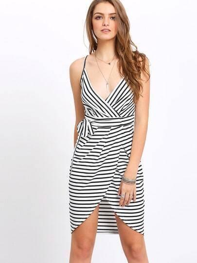 Black White Spaghetti Strap Striped Slim Dress