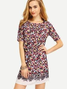 White Floral Print Shirred Waist Dress
