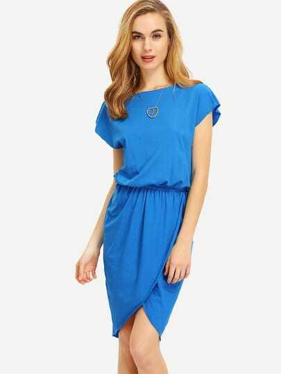 Blue Crew Neck Drawring Wasit Wrap Front Tulip Dress
