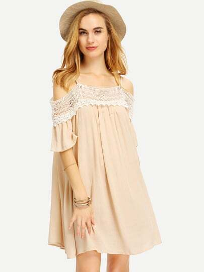Apricot Spaghetti Strap Panelled Off The Shoulder With Lace Dress