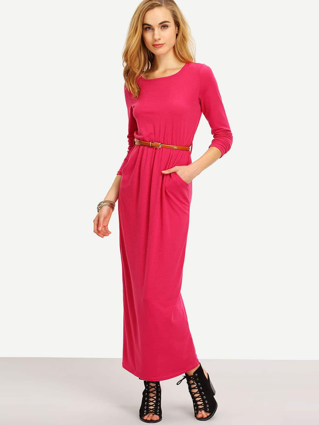 Burgundy Long Sleeve Pockets Maxi DressBurgundy Long Sleeve Pockets Maxi Dress<br><br>color: Hot Pink<br>size: L,M,S,XL