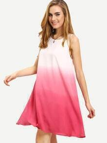 Ombre Color Sleeveless Swing Dress