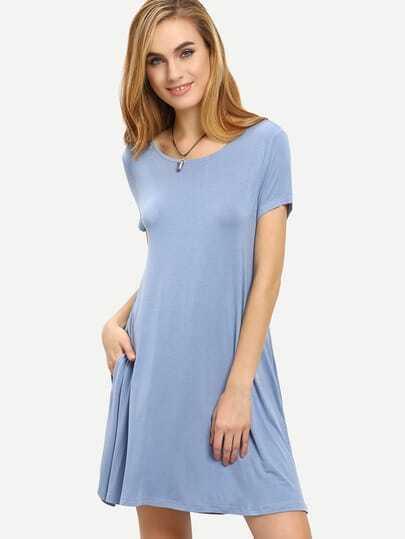 Grey Blue Short Sleeve Pockets Shift Dress