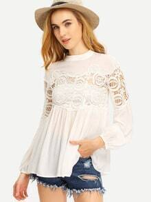 White Crew Neck Lace Embroidered Blouse