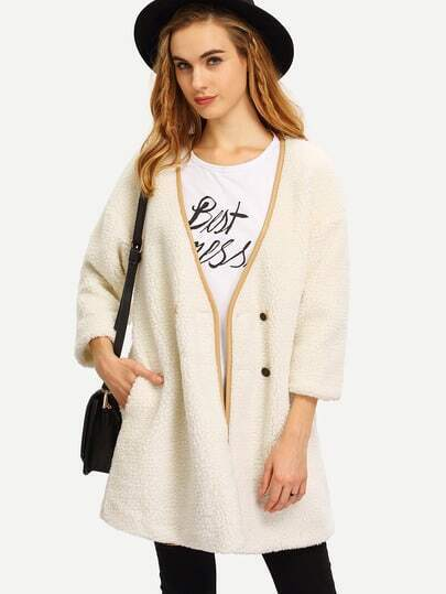 White Long Sleeve Faux Fur Coat