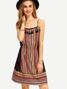 Multicolor Spaghetti Strap Tassel Boho Shift Dress