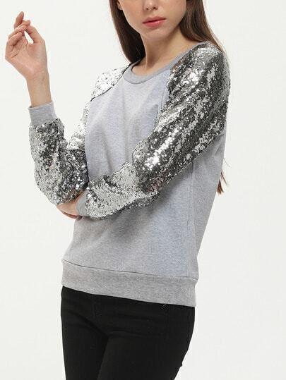 Grey Long Sleeve Sparkely Glittery Cozy Costume Sequined Sweatshirt