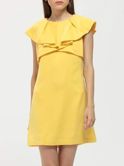 Yellow Cape Collar Shift Dress