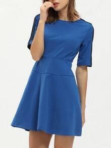 Blue Crew Neck A Line Dress