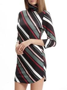 Cowl Neck Color Block Diagonal Striped Dress