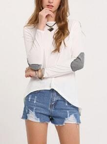White Dip Hem Sparkely Glittery Cozy Costume Loose T-shirt