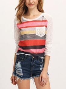 Multicolor Round Neck Striped Pocket T-shirt