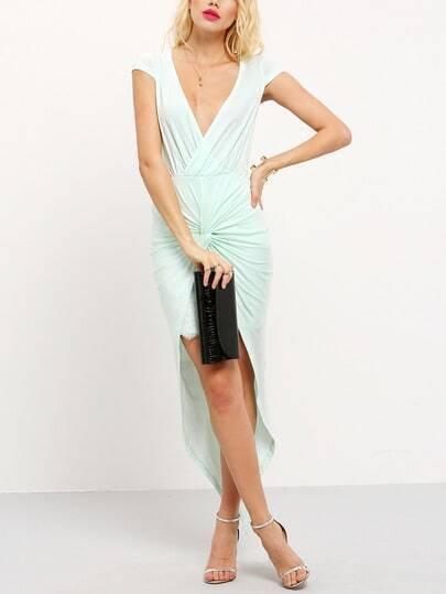 Light Green Knotted Front Irregular Hem Maxi Dress