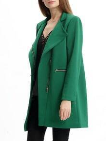 Green Long Sleeve Lapel Pockets Coat