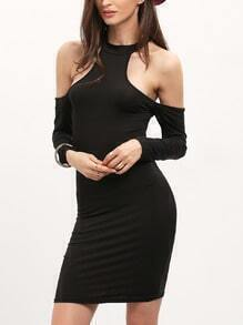 Black Cold Shoulder Slim Bodycon Dress