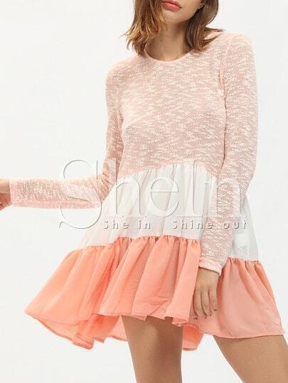Pink Color Block Crew Neck Flounce Dress