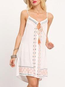 White Spaghetti Strap Tribal Embroidered Dress
