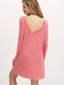Orange Long Sleeve Backless Casual Dress