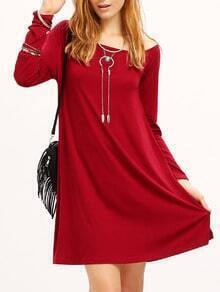 Burgundy Slash Neck Slouch Dress
