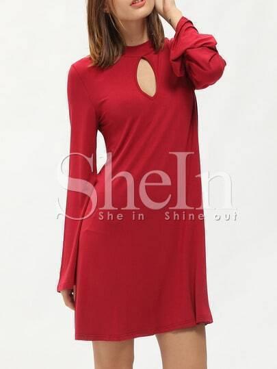 Red Mock Neck Keyhole Front Dress