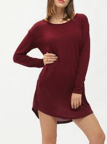 Burgundy Long Sleeve Pockets Casual Dress