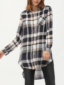 Multicolor Lapel Plaid High Low Shirt Dress