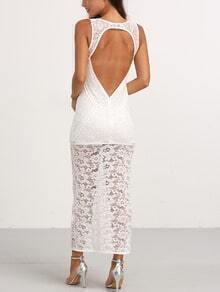 Beige V Neck Cut Out Backless Maxi Dress