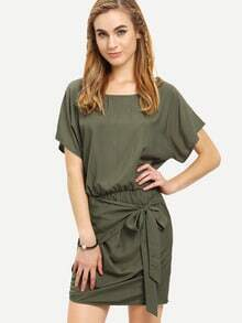 Army Green Round Neck Tie Waist Asymmetrical Dress