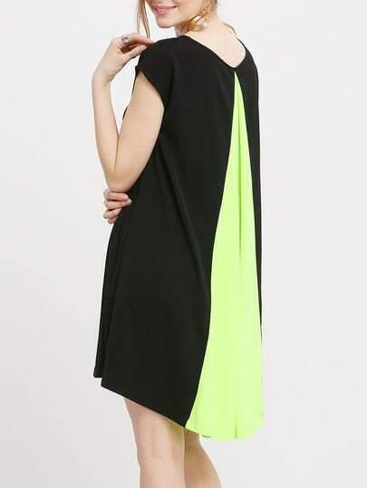 Black Short Sleeve Color Block Back Loose Dress