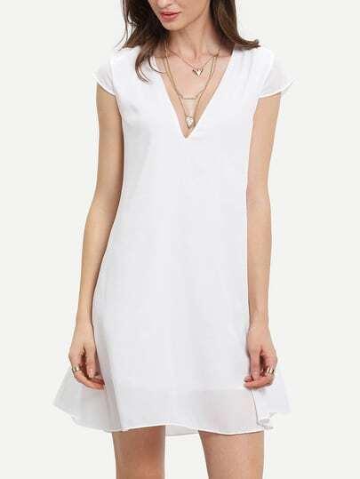 White Deep V Neck Shift Dress