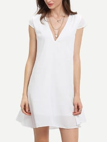 White Deep V Neck Shift Dress