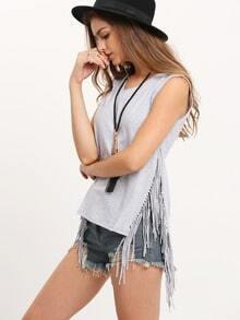 Light Grey V-neck Tassel Side Split T-shirt