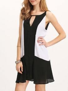 Cutout Ruffled Contrast Panel Dress