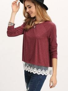Burgundy Long Sleeve Round Neck Lace Hem T-shirt
