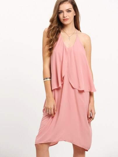 Pink Knee Length Ruffle Spaghetti Strap Dress
