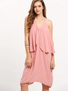 Pink Knee Length Ruffle Spaghetti Strap Dress