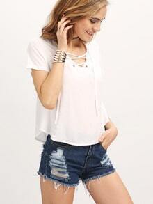 White V Neck Lace Up Crop Shirt
