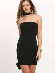 Black Halter Strapless Midriff Slim Dress