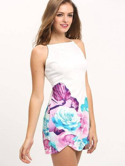 White Spaghetti Strap Backless Hibiscus Floral Dress