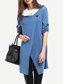 Blue Draped Collar Adjustable Sleeves Cardigan