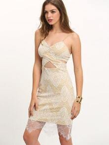 Apricot Spaghetti Strap Cut Out Lace Dress