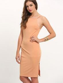 Nude Spaghetti Strap Split Backless Dress
