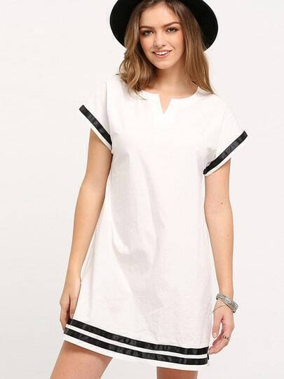 White Patchwork Black Shift Dress