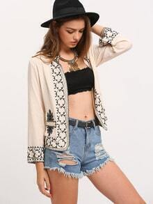 Pink Collarless Tribal Embroidered Coat
