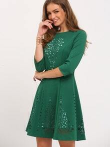 Dark Green A Line Hollow Dress