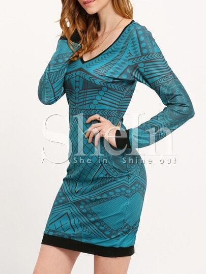 Dark Green Scoop Neck Geometric Print Bodycon Dress