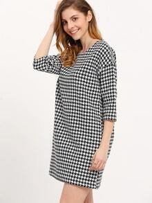 Crew Neck Houndstooth Shift Dress