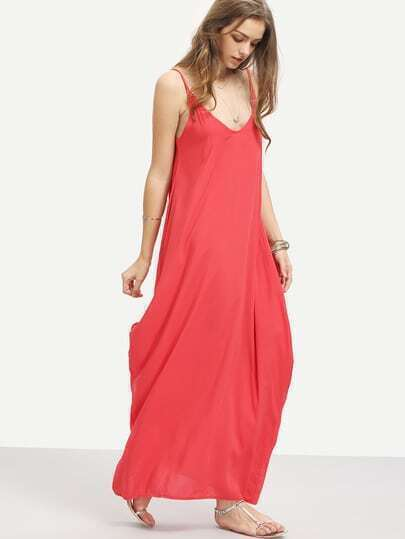 Side Pockets Loose Fit Maxi Cami Dress